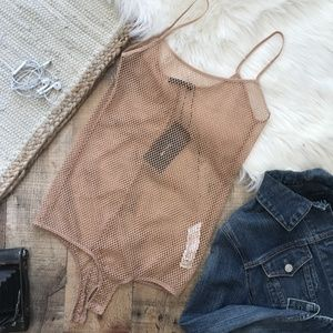 Zara Fishnet Bodysuit Tan/Nude NWT Small
